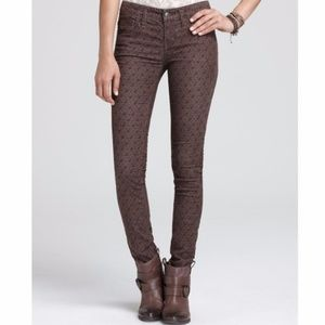 Free People Disty Floral Brown Corduroy Pant